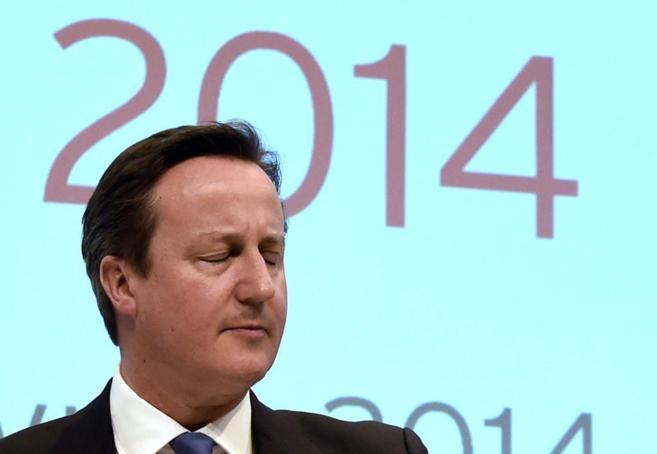 El primer ministro británico, David Cameron, durante una cumbre de...