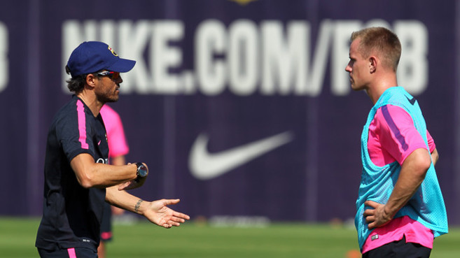 Ter Stegen, en un entrenamiento con el Barça.