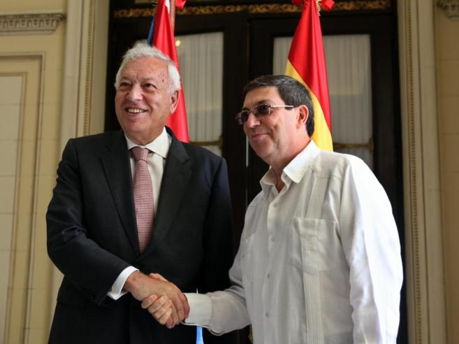 García-Margallo, con su homólogo cubano, Bruno Rodríguez, este...