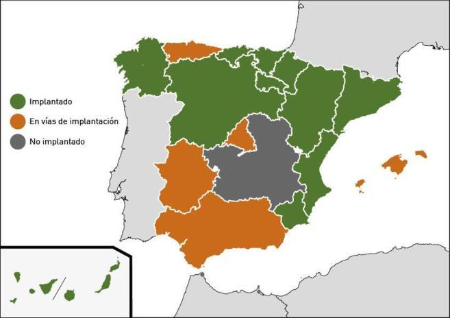 'Fotografía' sobre el estado del programa de cribado en España.