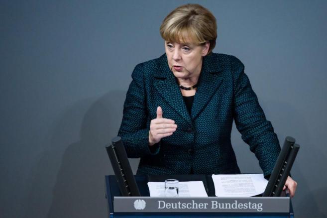 La canciller Angela Merkel, en el Bundestag de Berlín.
