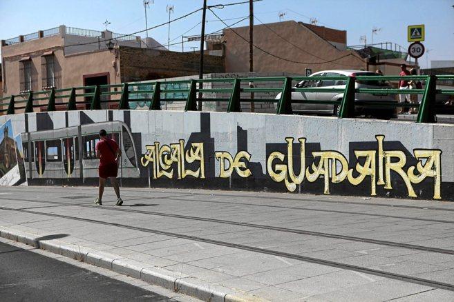 Raíles del tranvía de Alcalá de Guadaíra, cuyas obras están...