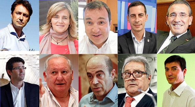 De izquierda a derecha y de arriba abajo, los alcaldes de Vilamarxant,...