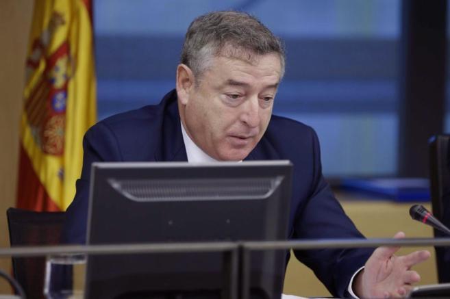 Sánchez, actual presidente de RTVE, durante una comparecencia en el...