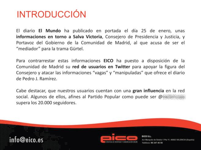 Documento del informe realizado por Eico sobre la campaña en Twitter...