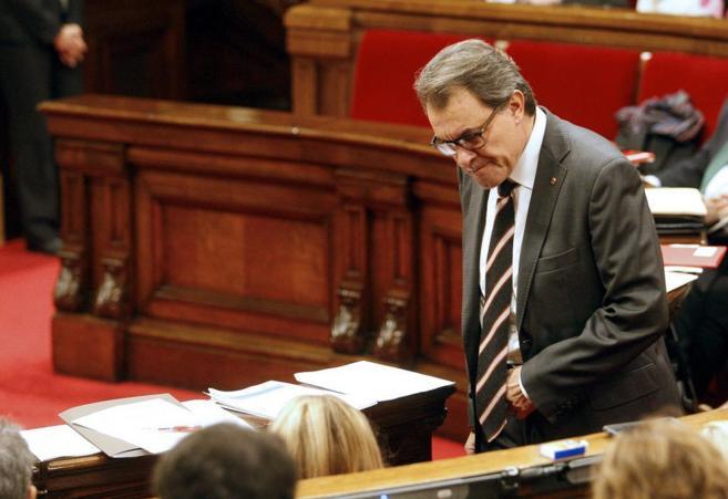 El president Artur Mas en el pleno de control al Govern en el...