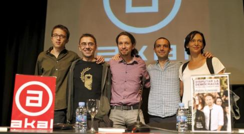 De izqda a dcha, Íñigo Errejón, J.C. Monedero, Pablo Iglesias, Luis...