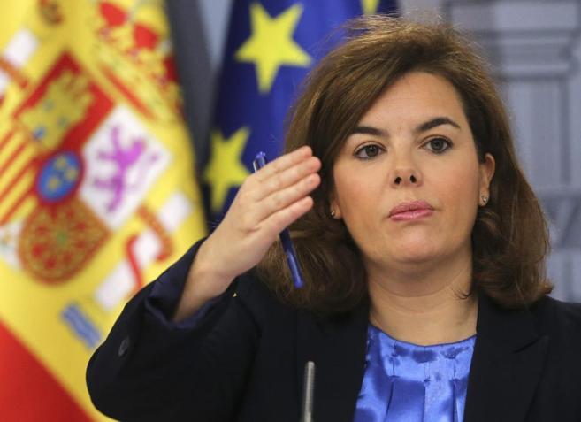 Soraya Sáenz de Santamaría durante la rueda de prensa posterior a la...