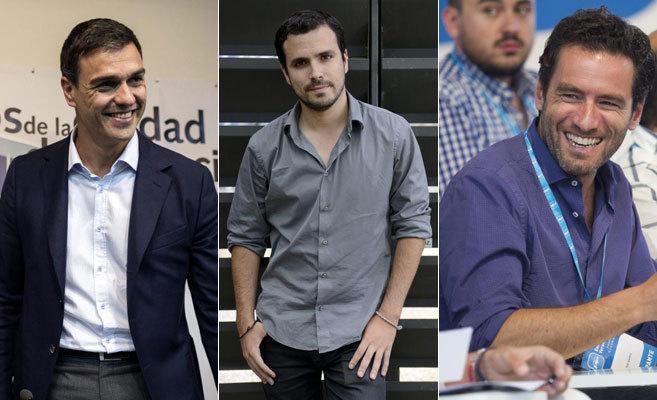 De izquierda a derecha, Pedro Sánchez, Alberto Garzón y Borja...