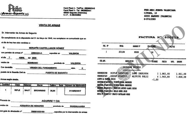 Certificado de venta de la armería y factura de la Fundación de...