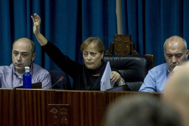 La actual alcaldesa de Leioa, Mari carmen Urbieta, durante un pleno en...