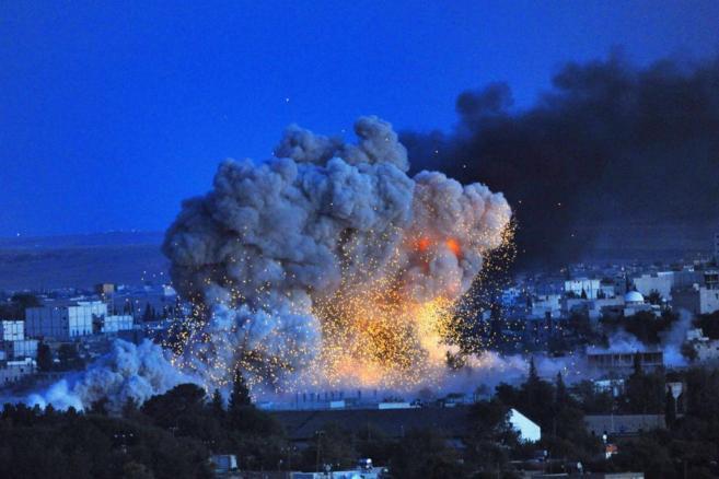 Explosión en Kobane en una imagen de archivo.