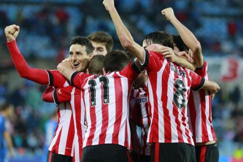 Los jugadores del Athletic celebran un gol en Getafe.