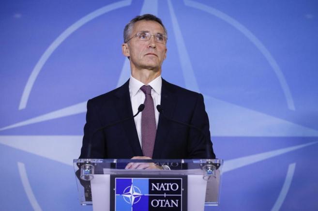 El secretario general de la OTAN, Jens Stoltenberg, durante su rueda...