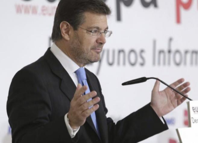 El ministro de Justicia, Rafael Catalá, durante su intrevención en...