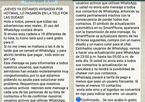 Bulo de WhatsApp que circula recurrentemente