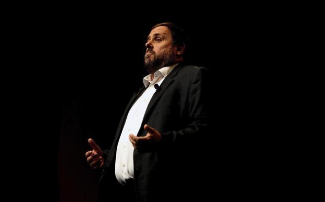 El líder de ERC, Oriol Junqueras, durante el acto de presentación de...
