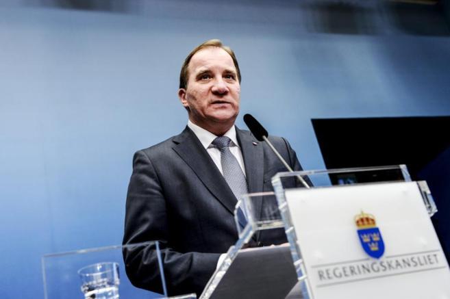 El primer ministro sueco, Stefan Löfven, durante una rueda de prensa...