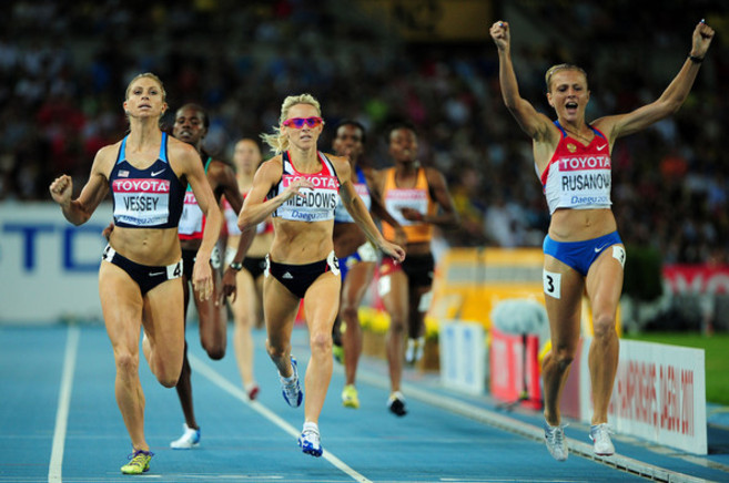 Yuliya Rusanova, durante la prueba del Mundial de Daegu 2011.