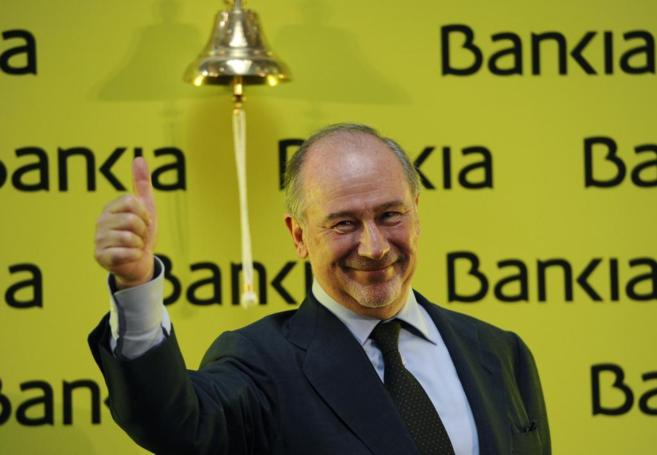 Rodrigo Rato en la salida a bolsa de Bankia en la bolsa de Madrid.