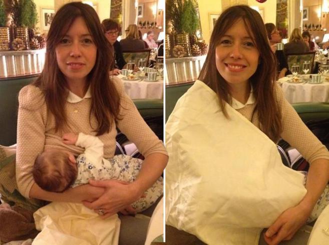 Imágenes de la cuenta de Twitter de Louise Burns, antes y después de...
