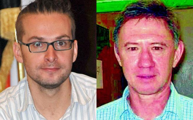 El periodista estadounidense Luke Somers (izda.) y el rehén...
