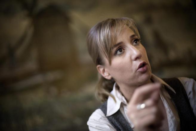 La candidata de IU a la Comunidad de Madrid, durante la entrevista.