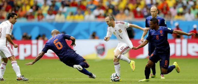 Imagen del último partido disputado entre Holanda y España, en...