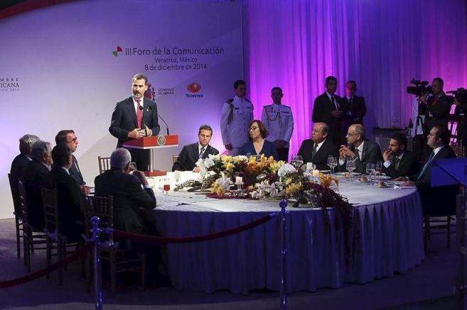 El Rey Felipe VI, durante su intervención en la cena ofrecida por el...