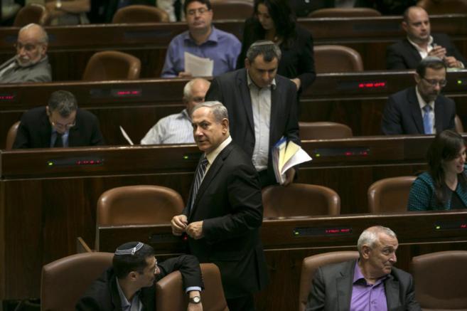 El primer ministro israelí, Benjamin Netanyahu, en la última sesión...