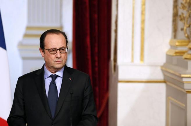 El presidente francés, François Hollande, durante una rueda de...