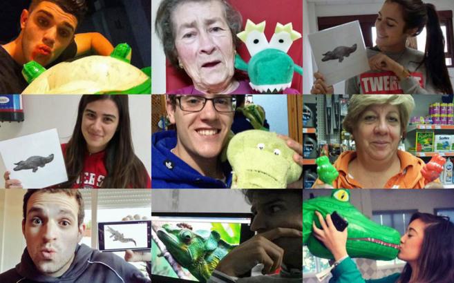 Varios de las fotos con cocodrilo compartidas en Twitter bajo el...