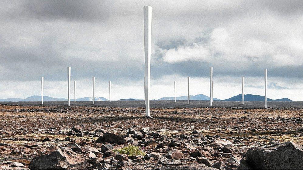 Recreación virtual de un parque de aerogeneradores sin hélices.