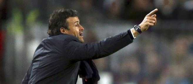 Luis Enrique, durante el partido frente al París Saint Germain.