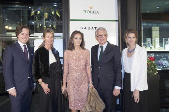 Preysler (c), con Jordi Rabat y Esteban Rabat y sus parejas.