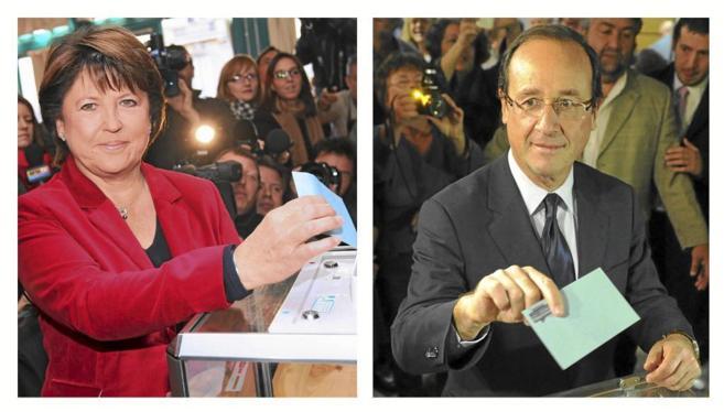 Aubry y Hollande, durante las primarias del PS galo en 2011.
