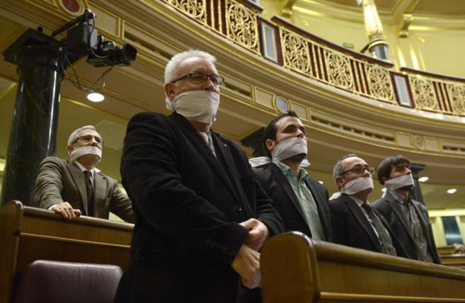 Diputados de IU y de la Izquierda Plural protestan en el Congreso...