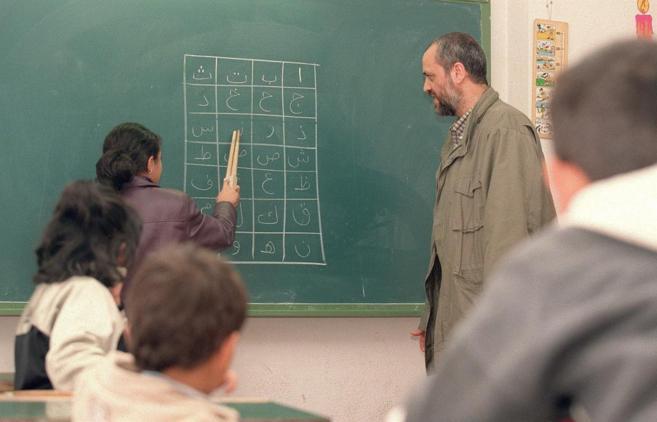 Alumnos en clase de Religión slámica en un colegio de Valencia.