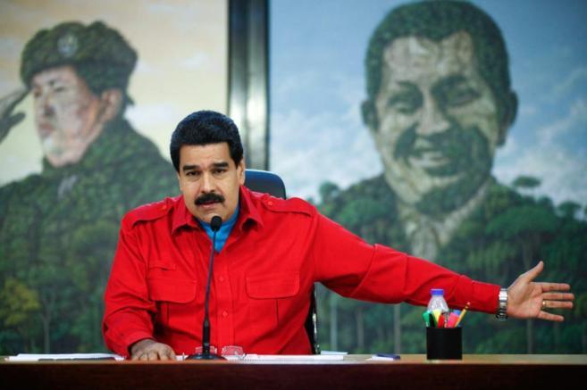 Nicolás Maduro durante su discurso contra las sanciones de Estados...