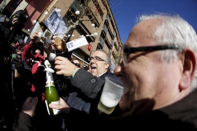 Celebración tras haber obtenido el Gordo, el 22 de dicembre de 2013...
