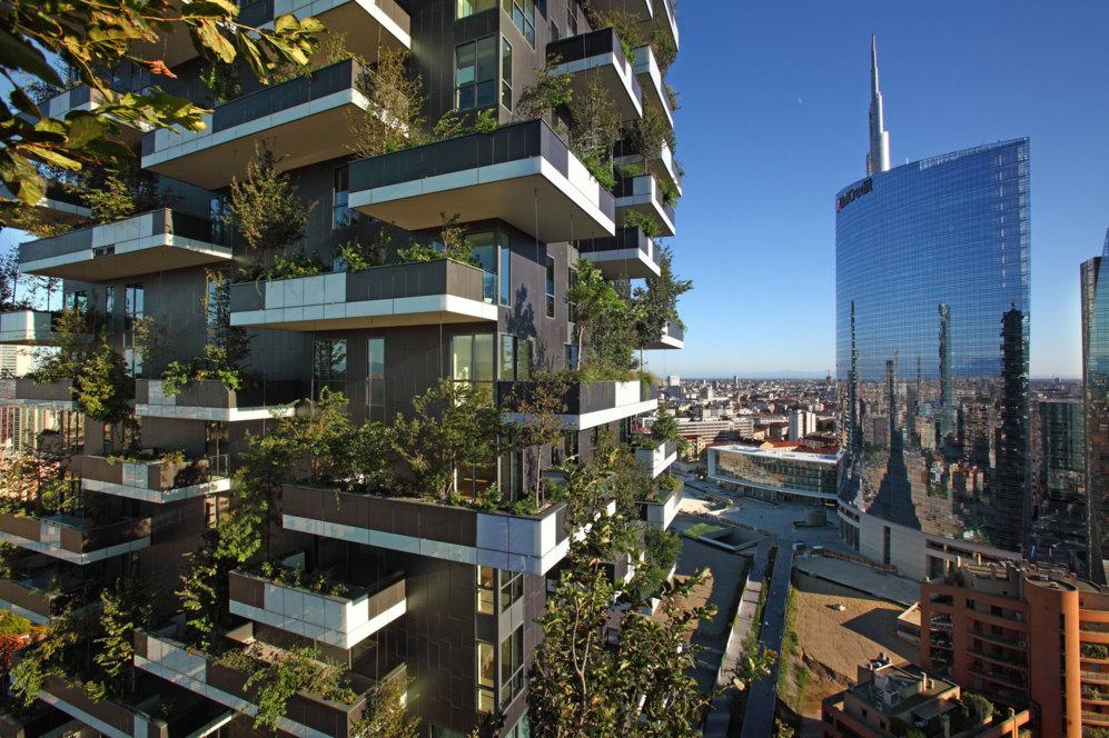 Imagen de la fachada de la edificación sostenible 'Bosco...