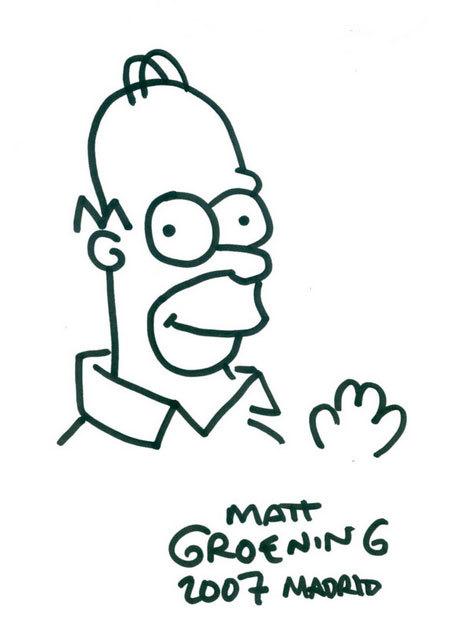 Dibujo original de Matt Groening realizado en una visita a España en...
