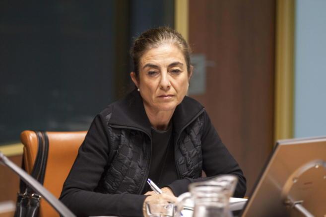La consejera Cristina Uriarte en una comparecencia en el Parlamento...