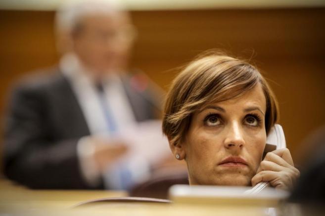 María Chivite, en una sesión de control al Gobierno en el Senado.