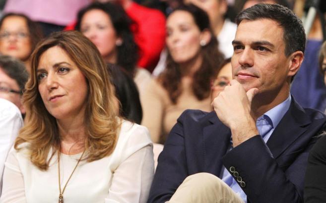 Díaz y Sánchez, en Sevilla, en el único mitin en el que han...