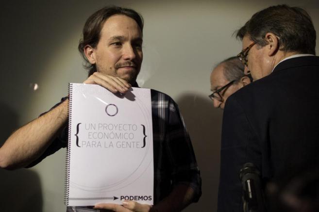 Pablo Iglesias, en la presentación del borrador de su programa...