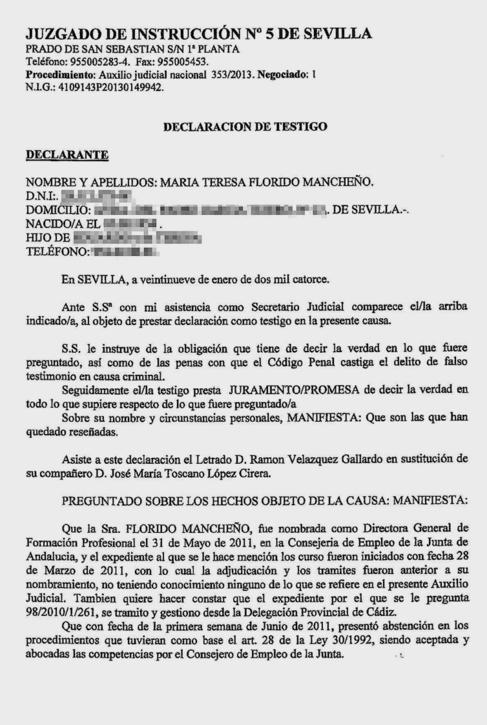 Declaración ante la juez en enero de 2014 de la cuñada de Ojeda, en...