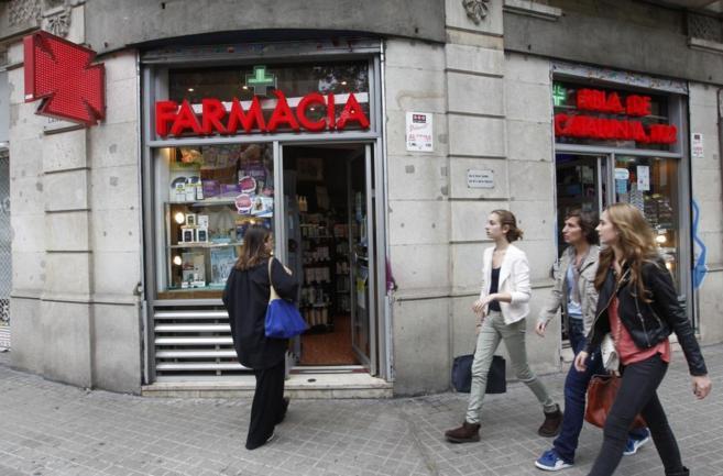 Una farmacia del centro de Barcelona el día en que el sector hizo...