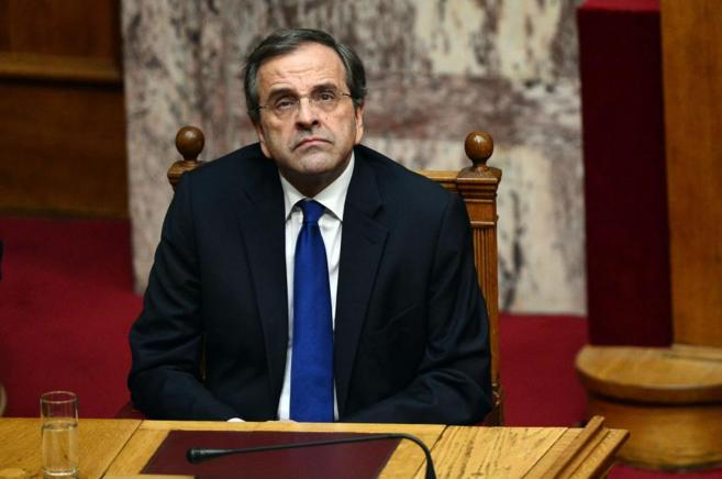 El primer ministro griego, Antonis Samaras, durante la primera...
