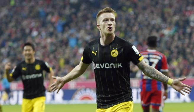 Marco Reus celebra un gol conseguido para el Borussia Dortmund.